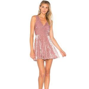Lovers + Friends blush velvet skater dress